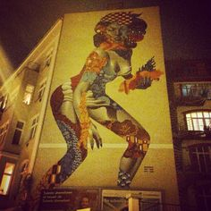 Superheronesse out of the dark #berlin #friedrichshain #nightwalk #art #streetart #ilikeberlin #walls #magic