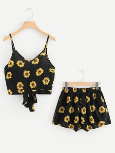 Shop Tie Back Sunflower Print Cami Top With Shorts online. SheIn offers Tie Back Sunflower Print Cami Top With Shorts & more to fit your fashionable needs. Girls Fashion Clothes, Teen Fashion Outfits, Girl Fashion, Girl Outfits, Fashion Black, Cute Casual Outfits, Short Outfits, Summer Outfits, Short Dresses