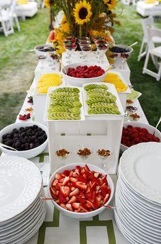 Wedding Food, Wedding Food Ideas, Wedding Reception Food Ideas, Buffet Food || Colin Cowie Weddings. Large center piece