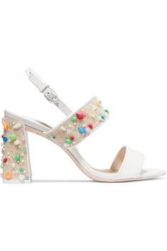 Heel measures approximately 85mm/ 3.5 inches White patent-leather Buckle-fastening slingback strap Designer color: Lollipop