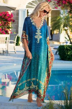 OMG Mrs. Roper WANTS THIS!!!  Cote D'azur Caftan - Chiffon Caftan, Turquoise Caftan, Kaftan Cover Up | Soft Surroundings