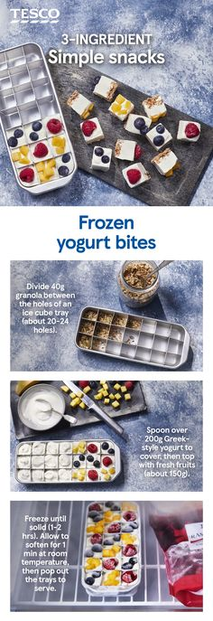 Simple summer snacking is yours with these frozen yogurt bites. Freeze granola, yogurt and sweet summer fruit in ice cube trays for a refreshing sweet treat. Fruit Yogurt, Yogurt And Granola, Vegan Yogurt, Cereal Recipes, Snack Recipes, Sweet Recipes, Cooking Recipes, Frozen Yogurt Bites, Gastronomia