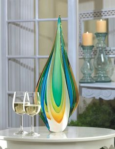 """Mystic River Online """"Glass Art"""" Collection: Cool Flame Art Glass Statue"""