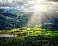 """Borrowdale Sun.  A recent jaunt up #Catbells in the #LakeDistrict saw us produce this image looking down from the fellside onto Manesty and Grange.  It was cloudy but warm and the sun kept putting in an appearance although it was low.  I was about to take a shot when the sun appeared but out of shot! A quick re-compose and bingo!   Met a guy named Tony Rathbone up there and had a great time like a personal guide. Cheers Tony!  Wainwright - """"It is one of the great favourites a family fell…"""