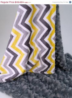 Yellow and Gray Chevron Minky Blanket for baby by MinkyBabyGifts Chevron Gris, Grey Baby Shower, Toddler Rooms, Minky Blanket, Infant Activities, Boy Room, Baby Items, Quilts, Yellow