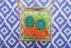 Turquoise Beaded Circle with Orange Tassel Earrings