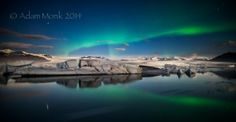 Aurora Borealis at Jokulsarlon Glacier Lagoon, Iceland