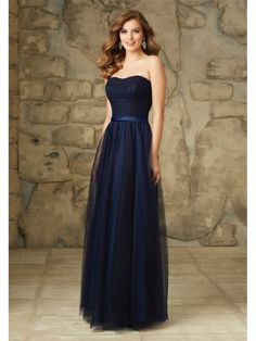 Long Navy Tulle and Lace Floor-Length Bridesmaid Dresses 5602079