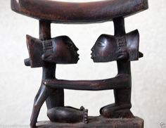 This wood carved African Headrest is carried everywhere by men using it to preserve their hairdo's when they want to rest. It's a Kuba tribe headrest from the Congo.The size of this Headrest: 7.4/8L x 8H x2.7/8 Inches Deep