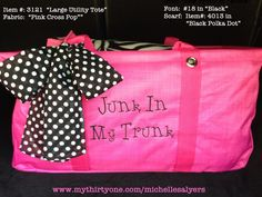 Large Utility Tote with personalized with Junk in My Trunk. Thirty One. Thirty One Totes, Thirty One Party, Thirty One Gifts, 31 Party, Thirty One Business, Large Utility Tote, Thirty One Consultant, 31 Gifts, 31 Bags