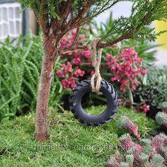Fairy Garden Ideas   Miniature Gardening - Tire Swing  $9.99