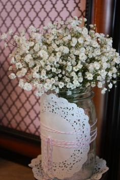 Hostess with the Mostess® - Shabby Chic 1st Communion / 8th Birthday Party I like flower arrangement.  Simple, pretty, cheap.