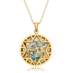 Ben Jewelry Modern 14K Gold and Roman Glass Circle Star of David Pendant, Jewish Jewelry | Judaica Web Store