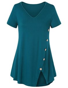 Shop a great selection of Gemijack Womens Tunic Tops Casual Short Sleeve V Neck Loose Fitting Flowy Blouses T Shirts. Find new offer and Similar products for Gemijack Womens Tunic Tops Casual Short Sleeve V Neck Loose Fitting Flowy Blouses T Shirts. Casual T Shirts, Casual Tops, Summer Blouses, Shirt Blouses, Tee Shirt, Blouses For Women, Women Tunic, Ideias Fashion, Short Sleeve Dresses