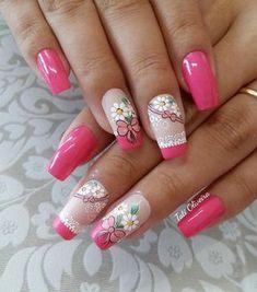 Ideas for nails design pink square Pink Nail Designs, Short Nail Designs, Beautiful Nail Designs, Beautiful Nail Art, Nails Design, Glam Nails, Red Nails, Beauty Nails, Hair And Nails