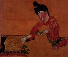 Tang Dynasty silk painting of a Go player