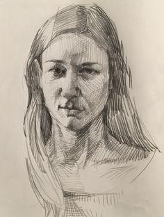 Self-portrait by Sarah Sedwick. Self-portrait by Sarah Sedwick. Portrait Sketches, Pencil Portrait, Portrait Art, Drawing Sketches, Pencil Drawings, My Drawings, Figure Sketching, Figure Drawing, Face Sketch