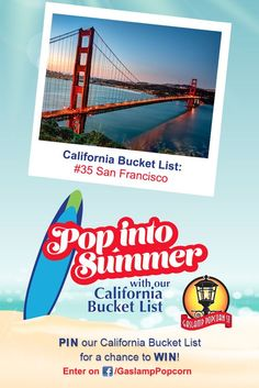 Add San Francisco to your Summer Bucket List and you could win $1,000 from Gaslamp Popcorn! Enter to win