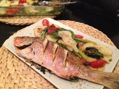 Whole Roasted Red Snapper on Vegetables