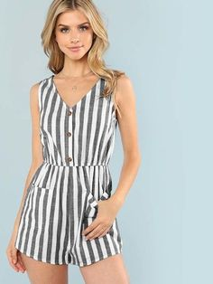 SheIn offers Pocket Patched Stripe Button Romper & more to fit your fashionable needs. Trendy Outfits, Summer Outfits, Cute Outfits, Rompers Women, Jumpsuits For Women, Wedding Jumpsuit, Ideias Fashion, Fashion Dresses, Plus Size