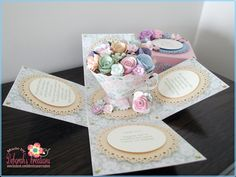 Female Birthday with Flowered Teacup and Pastels Theme Exploding Box Card
