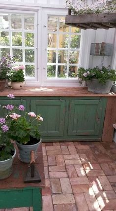 Old the old painted cabinets to add character to greenhouse.bam , Old the old painted cabinets to add character to greenhouse. Farmhouse Garden, Garden Cottage, Modern Farmhouse, Farmhouse Style, The Garden Room, Outdoor Rooms, Outdoor Living, Indoor Outdoor, Greenhouse Shed