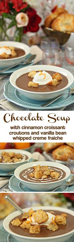 Chocolate soup! Yes, CHOCOLATE SOUP! With croissant croutons and whipped creme fraiche. | From SugarHero.com