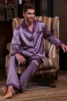 985bdcb18f Chesslyre Mulberry Silk Spandex Satin Pajamas 2 Piece Sleep Set