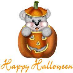 Imágenes de Halloween con movimiento con ositos y calabazas.