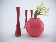 3D Model Red Vase Set c4d, obj, 3ds, fbx