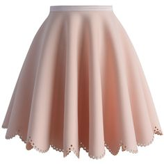 Chicwish Petal Airy Skater Skirt in Pink (815 MXN) ❤ liked on Polyvore featuring skirts, bottoms, saias, pink, pink circle skirt, pink skater skirt, pink knee length skirt, brown skirt and skater skirt