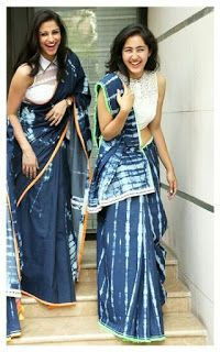 Denim saris by Anubha Jain Lehenga, Anarkali, Sabyasachi, Saree Styles, Blouse Styles, Saris, Indian Style, Ethnic Fashion, Indian Fashion