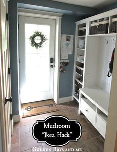 Mudroom bench and storage Ikea hack using the Hemnes bookcase & TV unit and a wall bridging shelf