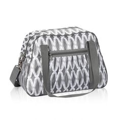 """All-In Tote in Charcoal Links for $25 - You'll be """"all-in"""" with this fashionable AND functional bag! Just throw on and go with the adjustable strap! The All-In Tote features a hidden zipper compartment that opens so it can easily slide over baggage handles for easy mobility. Personalization is available on one side. Via @thirtyonegifts"""