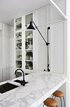 Kitchen with Black Sconce
