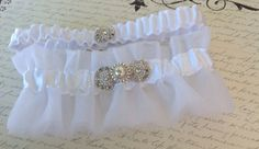 Wedding Bridal Garter Set White Tulle with by MartiMaginnis, $59.95