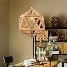 Moderno Hexaédrica Diamante Madera Jaula Colgante de Luz Accesorio de Iluminación de Techo Lámpara de Comedor De Madera(China (Mainland))