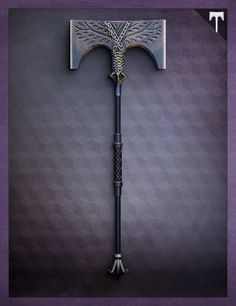 A relic from the days of the Iron Lords, the Iron Battle Axe channels energy from an external source. Zombie Weapons, Sci Fi Weapons, Weapon Concept Art, Fantasy Sword, Fantasy Weapons, Destiny Cosplay, Rise Of Iron, Tactical Swords, Space Opera