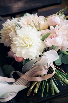 romantic ivory and blush dahlia, garden rose and peony bouquet by Kristin Polhemus of Reveriemade