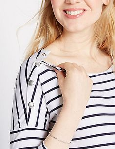 Maternity Striped Feeding Top with Modal   M&S £20