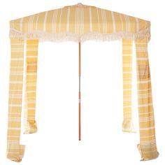 The Premium Cabana - Vintage Yellow Stripe – Business & Pleasure Co Beach Shade Tent, Beach Tent, Beach Umbrella, Beach Cabana, Sand Bag, Designer Shades, Reclaimed Timber, Yellow Stripes, Colour Yellow