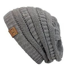 Unisex Soft Stretch Knit Slouchy Beanie (Light Melange Grey)