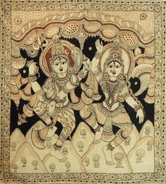 "hinducosmos: ""Dancing Shiva and Parvati Kalamkari Paintings on Cotton (via Dolls of India) "" Madhubani Art, Madhubani Painting, Indian Folk Art, Indian Artist, Traditional Paintings, Traditional Art, Phad Painting, Kalamkari Designs, Kalamkari Painting"