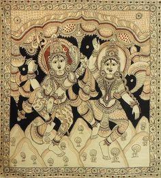 Dancing Lord Shiva with wife Parvati - Kalamkari Painting