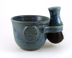 Mens Shaving Set:  Handmade Blue Mustache Shave Mug, Black Badger Hair Shave Brush with Matching Handle and Handmade Shave Soap by MiriHardyPottery.Etsy.Com