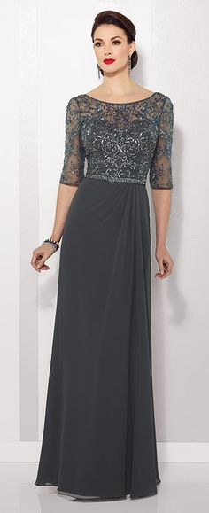 This Cameron Blake chiffon A-line gown features hand-beaded 3/4 length sleeves and bateau neckline over a sweetheart bodice. Available in Spice & Charcoal.