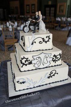 harley davidson wedding cakes | black and white harley wedding cake