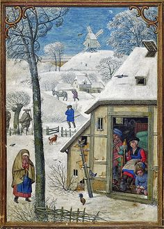 Spinning wool January 1 - Hennessy Book of Hours - miniaturist: Simon Benning - Flanders, - Bruxelles, Bibliothèque royale Albert Ier, ms. Medieval Houses, Medieval Life, Medieval Fashion, Medieval Art, Medieval Manuscript, Illuminated Manuscript, Medieval Paintings, Book Of Hours, Museum Collection
