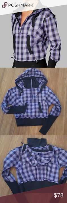 🆕Lululemon Run Reflection Pullover Hooded Jacket Lululemon Run Reflection Pullover Hooded Half-Zip Jacket in purple and black plaid. A technical Pullover. Reflective yarns woven into fabric for safety when in low light. Swift wicking, quick drying, lightweight and breathable with 2-way stretch and a durable water-resistant finish. Mesh venting in high sweat areas. Thumbholes, ponytail hole on hood, kangaroo pocket w/ secret secure pocket. Size 6. ❌NO TRADES❌NO LOWBALLING❌NO MODELING❌…