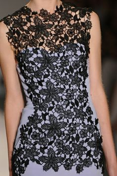 Adding black lace to a solid colored dress you already own -Lela Rose Spring 2013 - Details